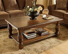 TUCSON-TRADITIONAL BROWN RECTANGULAR COCKTAIL COFFEE TABLE-LIVING ROOM FURNITURE