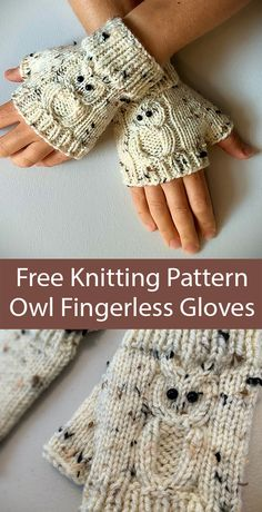 Knitted Mittens Pattern, Fingerless Gloves Knitted, Crochet Fingerless Gloves Free Pattern, Owl Knitting Pattern, Free Knitting, Loom Knitting, Knitting Stitches, Cast On Knitting, Decoupage