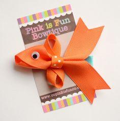 Goldfish Hair Clip, Fish Clippie, Nemo Hair Bow, Nemo Hair Clip, Epcot Hair Bow, Goldfish Party Bow, Summer Hair Clip, Summer Hair Bow. $4.50, via Etsy.