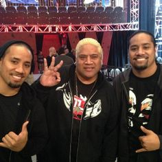 Josh & Jon Fatu (The Usos) with their father Solofa Fatu (Rikishi)