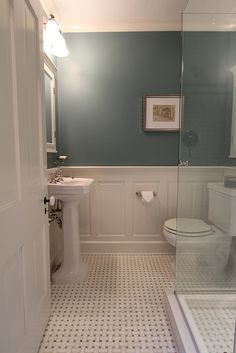 Basket weave tile floor for the downstairs bath ~ lovely & the wall color is very similar to what I'm using in the dining room
