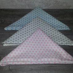 Lot de 3 mouchoirs en tissu doublé, 100% coton motifs petits pois