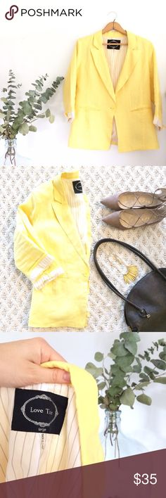 🆕 Listing! Yellow linen 3/4 sleeve blazer Bright lemon yellow linen blazer! Only worn a couple of times...just not my style anymore. Great condition. Cute grey and cream striped polyester lining. 100% linen. Size Large. Bust 20 inches. Waist 17 1/2 inches. Length 23 inches. Love Tree Jackets & Coats Blazers