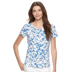 Women's Croft & Barrow® Henley Tee, Size: Medium, Blue