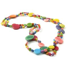 Tanzuwa Long Multicoloured Necklace in Tagua by ArtisanLife, £69.50