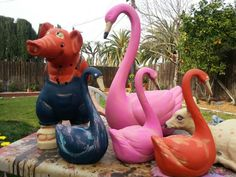 All repainted lawn ornaments.