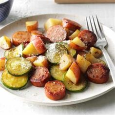 2 small red potatoes, cubed 1 tablespoon butter 1 small zucchini, cut into slices teaspoon garlic salt pound smoked sausage, cut into slices to teaspoon pepper Grated Parmesan cheese, optional Easy Zucchini Recipes, Easy Healthy Recipes, Potato Recipes, Pork Recipes, Healthy Food, Healthy Eating, Yummy Food, Easy Family Dinners, Easy Meals