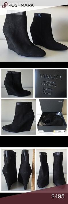 "VINCE LUDLOW BLACK SUEDE WEDGE ANKLE BOOTIES VINCE Ludlow  -Condition: Brand New With Original Box + Dust Bag. -Size: EU Size 41.5 / US 10. -Color: Black. -Model: Ludlow. -Pointed-Toe Wedge Boot. -Vince nubuck leather ankle boot. -3 3/4"" covered wedge. -Approx. 4""H shaft. -Layered top with leather trim. -Interior side zip. -""Ludlow"" is made in Italy. -Retails for 495.00 -Smoke Free Environment. -Same Day Shipping. Vince Shoes Ankle Boots & Booties"