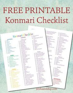 """The Life-Changing Magic of Tidying Up"" printable checklist #mariekondo #konmari #komono"