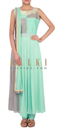 Buy Online from the link below. We ship worldwide (Free Shipping over US$100) http://www.kalkifashion.com/catalog/product/view/id/14836/s/sky-blue-and-grey-suit-embellished-in-thread-and-sequin-only-on-kalki/