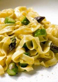 Pasta with Asparagus in Lemon Cream Sauce...this was fantastic.  Two of my boys had seconds (one even asked for thirds).  Very easy.  I made it with whole wheat organic linguini noodles and used asparagus and broccoli rabe.