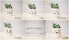 Lady Selva: Gatomacetas, edición limitada.  Lady Selva ceramics is inspired by cats, to simple shapes that are minimally decorated yet convey sweet personalities.  Lady Selva creates adorable Ceramic Companions for Plants.  Cat Planter. Small ceramic cat plant pot. Animal ceramics. cat ceramics, Animal pot. Cat pot. Handmade.  Lady Selva shop