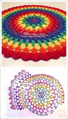42 Trendy Crochet Mandala Cushion Circles Knitting PatternsKnitting For KidsCrochet PatronesCrochet Scarf Crochet Mandala Pattern, Crochet Circles, Crochet Diagram, Crochet Squares, Crochet Stitches, Granny Squares, Crochet Crafts, Crochet Projects, Crochet Yarn