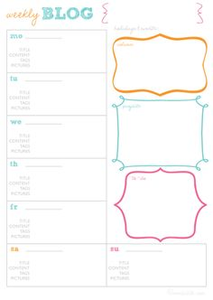Free printable blog planner from {And Cute} http://andcute.com/weekly-blog-planner-printable-template/#