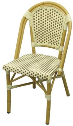 Aluminum Bamboo Patio Chair With Brown U0026 White Rattan