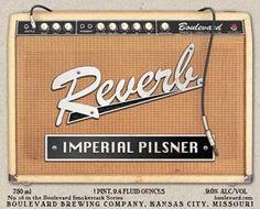 """""""Reverb"""" label detail.  www.boulevard.com http://www.boulevard.com/BoulevardBeers/reverb-imperial-pilsner/ #boulevardbrewing #beers #craftbeers #amps #fender #fenderamps #tone #reverb #tweed #imperialpilsener"""
