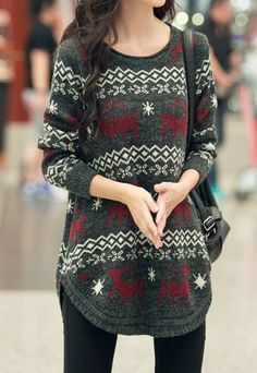 Vintage Scoop Neck Long Sleeve Fawn Pattern Sweater For Women