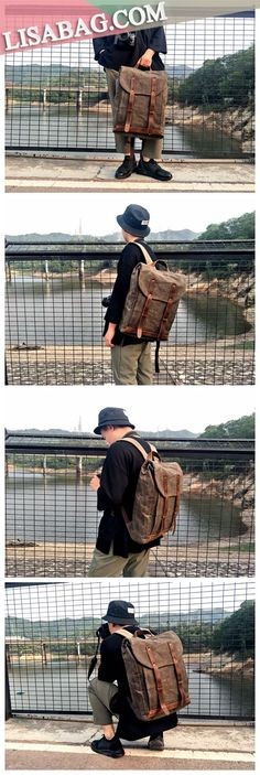 Handmade Waxed Canvas School Backpack Laptop Backpack Casual Hiking Backpack YC08 Hiking Backpack, Backpack Purse, Laptop Backpack, Laptop Bags, Satchel Bag, Clutch Purse, Crossbody Bags, Tote Bag, Photography Bags