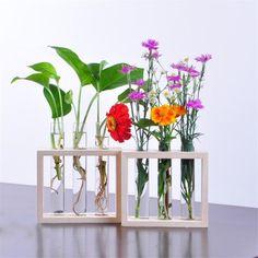 Test Tubes Vase with Wooden Frame