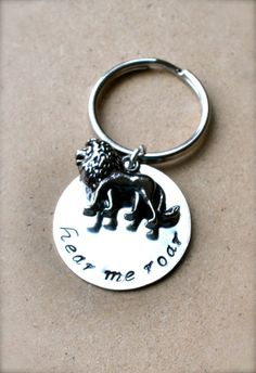 """Game of Thrones House Lannister Inspired """"Hear Me Roar"""" Keychain with Lion Charm - Handstamped, Custom, Personalized"""