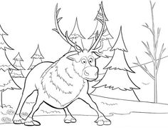 Sven Disney Frozen coloring pages for kids