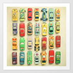 Car Park Art Print by Cassia Beck - $20.80 I'm thinking about organizing ideas, this is a 2 D piece of artwork but I'm imaging using magnets either on a metal sheet (available at hardware stores) or maybe mounting metal strips in a pattern around the room that I could attach cars to? sound like fun to anyone?