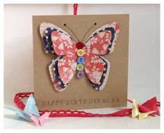 Handmade Button Butterfly 3D Card - Birthday - Congratulations - Mum - Sister - Friend on Etsy, £3.50