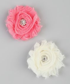 Take a look at this Strawberry Pink & Ivory Shabby Clip Set on zulily today!