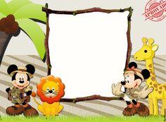 Mickey and Minnie Safari: Free Party Printables and Invitations. Minnie Safari, Mickey Minnie Mouse, Mickey Mouse E Amigos, Mickey Mouse And Friends, Safari Birthday Party, Mickey Birthday, Scrapbook Da Disney, Safari Invitations, Barbie Theme