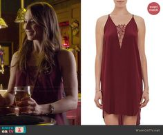 Spencer's burgundy triangle lace inset dress on Pretty Little Liars.  Outfit Details: http://wornontv.net/46279/ #PLL