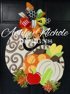 """This wooden, hand cut and hand painted Cornucopia is a must! This item makes a great gift and is good for indoor and outdoor use. Painted black on the back for a polished look. Made using ¼"""" plywood with a painted back for a more polished look. Burlap Door Hangers, Fall Door Hangers, Door Crafts, Wooden Crafts, Fall Wreaths, Door Wreaths, Fall Crafts, Holiday Crafts, Holiday Ideas"""