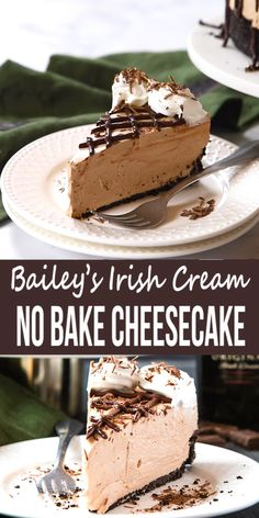 This Easy No Bake Bailey's Irish Cream Cheesecake is the perfect impressive dessert that's ultra creamy and flavoured with Bailey's Irish Cream – and it's SO easy to make! # no bake Desserts No Bake Bailey's Irish Cream Cheesecake Impressive Desserts, Easy Desserts, Delicious Desserts, Tasty Dessert Recipes, Recipes Dinner, Dinner Ideas, No Cook Desserts, Health Desserts, Easter Recipes