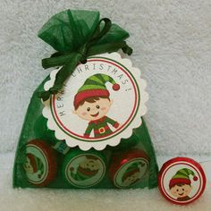 Elf Kisses with stickers:  With little eyes watching you,  there's not alot that Santa misses.  So tohelp you be good today,  Here's a bunch of sweet elf kisses.