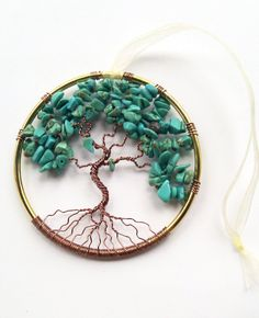 Blue Turquoise Tree of Life Window or Wall
