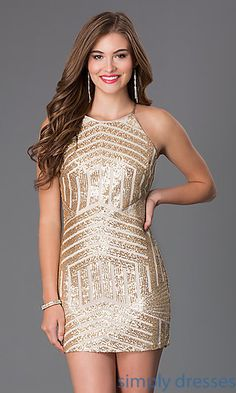 Short Sleeveless Sequin Dress by Sequin Hearts at SimplyDresses.com