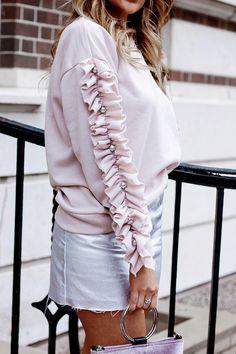 Pink Ruffle Sleeve S