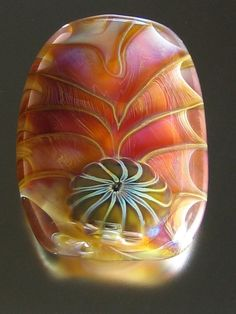 Beautiful Focal pink Raspberry Sherbet lampworked bead with murrini