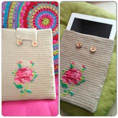 Crochet embroidery ipad cover