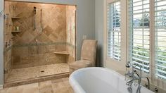 like this idea for bathroom redo * Like the concept of ripping out tub in guest bath and convert to walk in shower!!