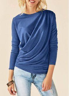Round Neck Long Sleeve Draped Blue T Shirt | Rosewe.com - USD $29.94