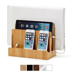 Minimize cord clutter with our Bamboo Multi-Device Charging Station! Works with iPads, iPhones, or any other style smartphone or tablet.