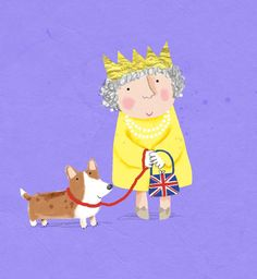 The Queen and her Corgi, by noted children's book illustrator, Cally Johnson-Isaacs. Welsh Corgi Pembroke, Welsh Corgi Puppies, Queen 90th Birthday, Birthday Wishes, Corgi Pictures, Queen Of England, Illustrations, Grafik Design, Cute Illustration