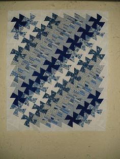 "Beaquilter: Little Twister quilt - Shows the layout of the squares before the ""twist"""