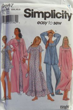 Simplicity 9957 Misses' Nightgown and Pajamas and Robe