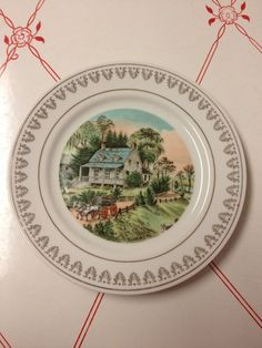 Vintage Currier & Ives china plate The Homestead in summer with lovely scene with horses by EvelynsCornerCabinet, $7.50