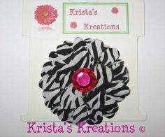 #C-10 Mini Zebra Daisy Hot Pink Rhinestone Black Lined Alligator Clip #Zebra #Black #HotPink #Pink #Daisy #Flower #HairClip #Clip #AlligatorClip #KristasKreations https://www.facebook.com/KristasKreationsEtc