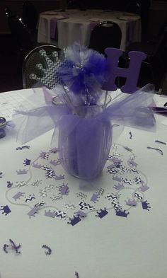 Tutus, Tiaras, & Pearls Baby Shower Centerpiece - tulle - chevron - purple and gray