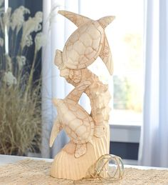 Hand Carved Two #Turtles Wooden Statue