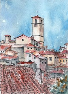 Here is beautiful view of Anghiari in Italy). The illustration is made in watercolor and liner on simple sketchbook paper. Size - inches) _I love this picture…MoreMore Watercolor Pictures, Watercolor Sketch, Watercolor Print, Watercolor Illustration, Sketch Art, Watercolor Paintings, Portrait Illustration, Landscape Sketch, Urban Landscape
