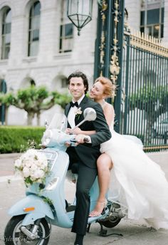 Yes to exiting on a light blue Vespa // Sylvie Gil Photography